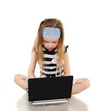 Cute little girl with laptop isolated Stock Photos