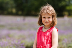 Girl in a lavender field Royalty Free Stock Photo