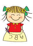 Cute little girl. Learning ABC royalty free illustration