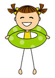 Cute little girl with lifebuoy Stock Images