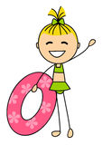 Cute little girl with lifebuoy Royalty Free Stock Photos