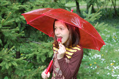 Cute little girl with lollipop Stock Images