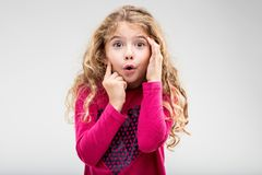 Cute little girl with a look of astonishment Royalty Free Stock Photo