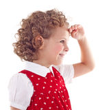 Cute little girl looking in the horizont Stock Photos