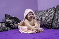 Cute little girl is looking on a left side Royalty Free Stock Images