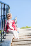 Cute little girl looking up Royalty Free Stock Photo