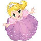 Cute little girl looking up vector illustration