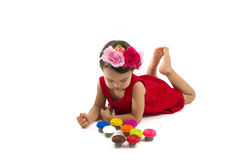 Cute little girl making from plasticine box,  Royalty Free Stock Photo