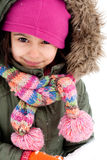 Cute little girl making a snowman Royalty Free Stock Photography