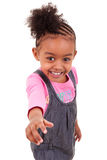 Cute little girl making thumbs up Stock Images