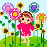 Cute little girl in meadow Royalty Free Stock Photo