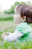 Cute little girl on the meadow. Cute little girl on the meadow in spring day Royalty Free Stock Photo