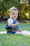 Cute little girl on the meadow. Cute little girl on the meadow with sunset Royalty Free Stock Photo
