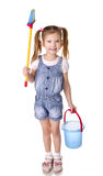 Cute little girl with mop and bucket is ready to clean Royalty Free Stock Photos