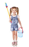 Cute little girl with mop and bucket is ready to clean isolated Stock Image