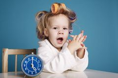 Cute little girl on morning Stock Photos