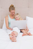 Cute little girl and mother on bed using laptop Stock Images