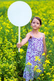 Cute little girl on neutral background Royalty Free Stock Image