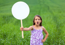 Cute little girl on neutral background Royalty Free Stock Photos