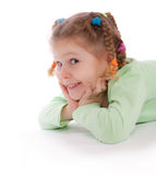 Cute Little Girl On The Floor Stock Photo