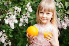 Cute little girl with orange juice and orange fruit, healthy drink stock photo