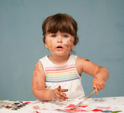 Cute, little girl with painted face Stock Photo
