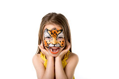 Cute little girl with painted face Stock Image