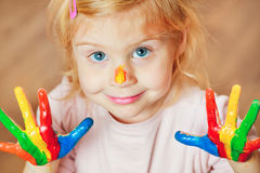 Cute little girl with painted Stock Image