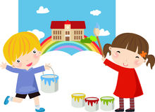 Cute little girl painter Royalty Free Stock Image