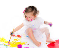 Cute little girl painting Stock Photography
