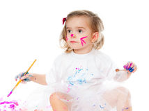 Cute little girl painting Stock Photo