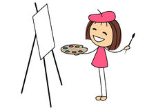 Cute little girl painting picture Royalty Free Stock Photo