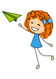 Cute little girl with paper airplane Stock Photography