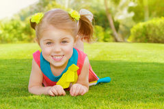 Cute little girl in park Stock Images