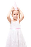 Cute little girl with party hat isolated Royalty Free Stock Images