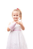 Cute little girl with party hat isolated Royalty Free Stock Photo