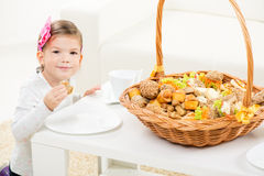 Cute Little Girl With Pastry Royalty Free Stock Image