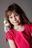 Girl with a cockatiel. Cute little girl with a pet cockatiel on her shoulder royalty free stock images