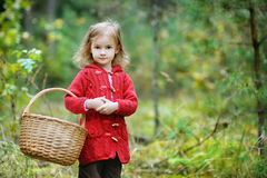 Cute little girl picking mushrooms Royalty Free Stock Photo