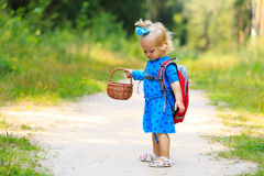 Cute little girl picking mushrooms in summer Royalty Free Stock Images