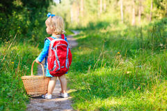 Cute little girl picking mushrooms in summer forest Royalty Free Stock Photos