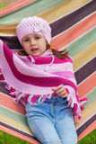 Cute little girl on picnic Stock Images