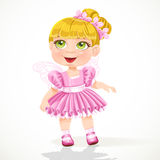 Cute little girl in a pink ballet skirt and wings Royalty Free Stock Photography