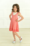 Cute little girl in pink dress Stock Photos