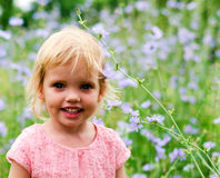 Cute little girl in a pink dress smiling in park Royalty Free Stock Image