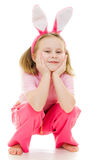 Cute little girl with pink ears bunny Royalty Free Stock Images