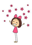Cute little girl with pink flowers Royalty Free Stock Photos