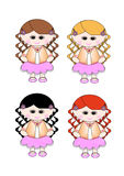 Cute Little Girl Pink Skirt - Curly Hair 4 Shades. Cute little girl dress in a peach cardigan, and pink lacy skirt. Long curly hair - red hair, blonde hair Royalty Free Stock Photography