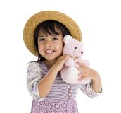 Cute little girl with pink teddy bear Stock Photos