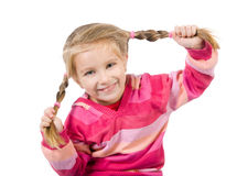 Cute little girl with a plaits Stock Photos